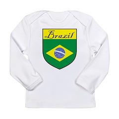 Brazil Flag Crest Shield Long Sleeve Infant T-Shir