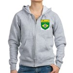 Brazil Flag Crest Shield Women's Zip Hoodie