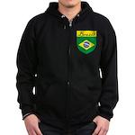 Brazil Flag Crest Shield Zip Hoodie (dark)