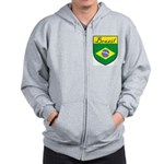 Brazil Flag Crest Shield Zip Hoodie