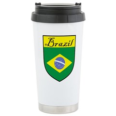 Brazil Flag Crest Shield Travel Mug