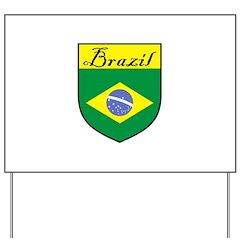 Brazil Flag Crest Shield Yard Sign