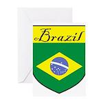 Brazil Flag Crest Shield Greeting Card