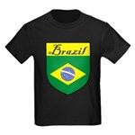 Brazil Flag Crest Shield Kids Dark T-Shirt