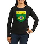 Brazil Flag Crest Shield Women's Long Sleeve Dark