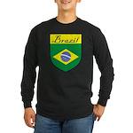 Brazil Flag Crest Shield Long Sleeve Dark T-Shirt