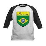 Brazil Flag Crest Shield Kids Baseball Jersey