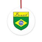 Brazil Flag Crest Shield Ornament (Round)