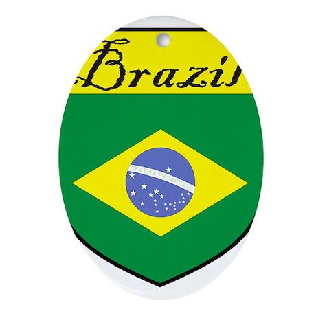 Brazil Flag Crest Shield Ornament (Oval)