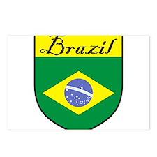 Brazil Flag Crest Shield Postcards (Package of 8)