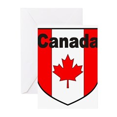 Canadian Flag Shield Greeting Cards (Pk of 20)