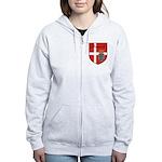 Danish Flag Crest Shield Women's Zip Hoodie