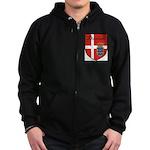 Danish Flag Crest Shield Zip Hoodie (dark)