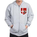 Danish Flag Crest Shield Zip Hoodie