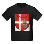 Danish Flag Crest Shield Kids Dark T-Shirt