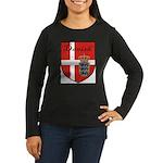 Danish Flag Crest Shield Women's Long Sleeve Dark