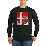 Danish Flag Crest Shield Long Sleeve Dark T-Shirt