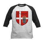 Danish Flag Crest Shield Kids Baseball Jersey