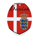 Danish Flag Crest Shield Ornament (Oval)
