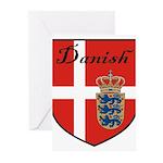 Danish Flag Crest Shield Greeting Cards (Pk of 10)