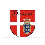 Danish Flag Crest Shield Postcards (Package of 8)
