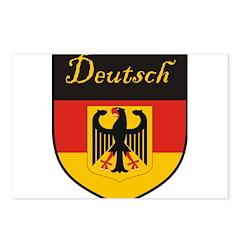 Deutsch Flag Crest Shield Postcards (Package of 8)