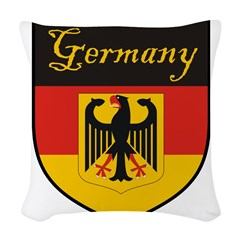 Germany Flag Crest Shield Woven Throw Pillow