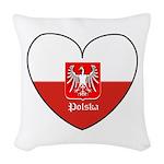 polska-heart2.jpg Woven Throw Pillow