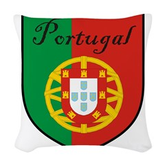 Portugal Flag Crest Shield Woven Throw Pillow