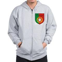 Portugal Flag Crest Shield Zip Hoodie