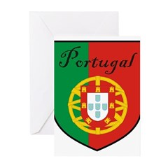 Portugal Flag Crest Shield Greeting Cards (Pk of 1