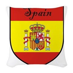 Spain Flag Crest Shield Woven Throw Pillow