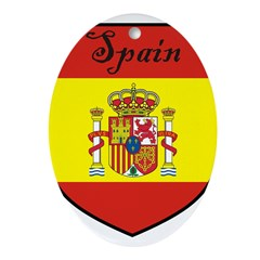 Spain Flag Crest Shield Ornament (Oval)