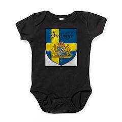Sverige Flag Crest Shield Baby Bodysuit
