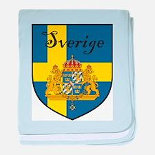 Sverige Flag Crest Shield baby blanket