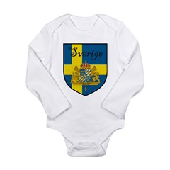 Sverige Flag Crest Shield Long Sleeve Infant Bodys