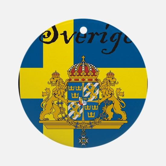 Sverige Flag Crest Shield Ornament (Round)
