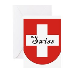 Swiss Flag Crest Shield Greeting Cards (Pk of 20)