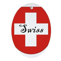 Swiss Flag Crest Shield Ornament (Oval)