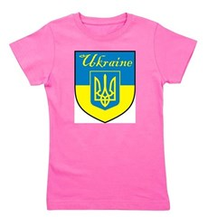Ukraine Flag Crest Shield Girl's Tee