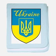 Ukraine Flag Crest Shield baby blanket