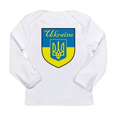 Ukraine Flag Crest Shield Long Sleeve Infant T-Shi
