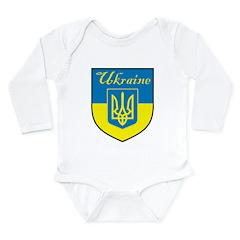 Ukraine Flag Crest Shield Long Sleeve Infant Bodys