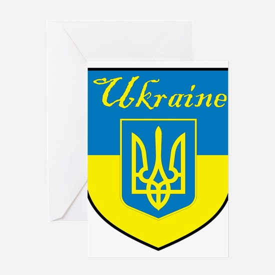 Ukraine Flag Crest Shield Greeting Card