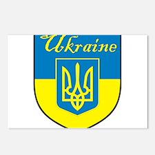 Ukraine Flag Crest Shield Postcards (Package of 8)