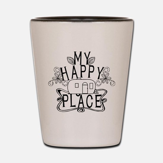 Camping My Happy Place Shot Glass