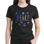 Multicolor Peace Symbols Women's Dark T-Shirt