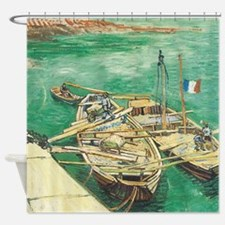 Van Gogh Painting of Boats on a Shower Curtain