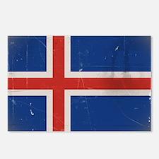 Icelandic flag antiqued Postcards (Package of 8)