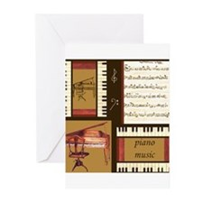 Piano Keys Music Song Clef Greeting Cards (Pk of 2